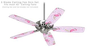 Flamingos on Pink - Ceiling Fan Skin Kit fits most 42 inch fans (FAN and BLADES SOLD SEPARATELY)