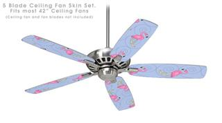 Flamingos on Blue - Ceiling Fan Skin Kit fits most 42 inch fans (FAN and BLADES SOLD SEPARATELY)