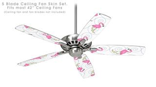 Flamingos on White - Ceiling Fan Skin Kit fits most 42 inch fans (FAN and BLADES SOLD SEPARATELY)