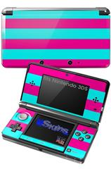Psycho Stripes Neon Teal and Hot Pink - Decal Style Skin fits Nintendo 3DS (3DS SOLD SEPARATELY)