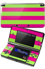 Psycho Stripes Neon Green and Hot Pink - Decal Style Skin fits Nintendo 3DS (3DS SOLD SEPARATELY)