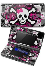 Splatter Girly Skull - Decal Style Skin fits Nintendo 3DS (3DS SOLD SEPARATELY)
