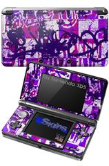 Purple Checker Graffiti - Decal Style Skin fits Nintendo 3DS (3DS SOLD SEPARATELY)