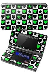 Hearts And Stars Green - Decal Style Skin fits Nintendo 3DS (3DS SOLD SEPARATELY)