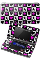 Hearts And Stars Pink - Decal Style Skin fits Nintendo 3DS (3DS SOLD SEPARATELY)