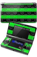 Skull Stripes Green - Decal Style Skin fits Nintendo 3DS (3DS SOLD SEPARATELY)