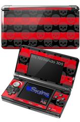 Skull Stripes Red - Decal Style Skin fits Nintendo 3DS (3DS SOLD SEPARATELY)