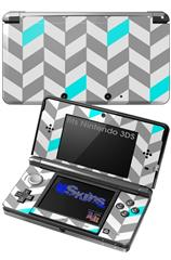 Chevrons Gray And Aqua - Decal Style Skin fits Nintendo 3DS (3DS SOLD SEPARATELY)