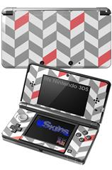 Chevrons Gray And Coral - Decal Style Skin fits Nintendo 3DS (3DS SOLD SEPARATELY)