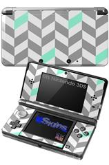 Chevrons Gray And Seafoam - Decal Style Skin fits Nintendo 3DS (3DS SOLD SEPARATELY)