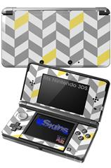 Chevrons Gray And Yellow - Decal Style Skin fits Nintendo 3DS (3DS SOLD SEPARATELY)