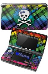 Rainbow Plaid Skull - Decal Style Skin fits Nintendo 3DS (3DS SOLD SEPARATELY)