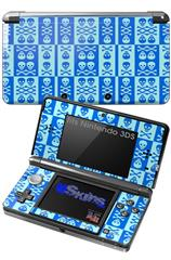Skull And Crossbones Pattern Blue - Decal Style Skin fits Nintendo 3DS (3DS SOLD SEPARATELY)