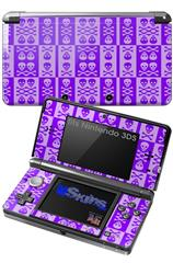Skull And Crossbones Pattern Purple - Decal Style Skin fits Nintendo 3DS (3DS SOLD SEPARATELY)
