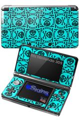 Skull Patch Pattern Blue - Decal Style Skin fits Nintendo 3DS (3DS SOLD SEPARATELY)