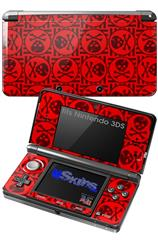 Skull Patch Pattern Red - Decal Style Skin fits Nintendo 3DS (3DS SOLD SEPARATELY)