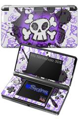 Cartoon Skull Purple - Decal Style Skin fits Nintendo 3DS (3DS SOLD SEPARATELY)