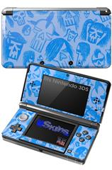 Skull Sketches Blue - Decal Style Skin fits Nintendo 3DS (3DS SOLD SEPARATELY)