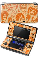 Skull Sketches Orange - Decal Style Skin fits Nintendo 3DS (3DS SOLD SEPARATELY)