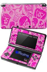 Skull Sketches Pink - Decal Style Skin fits Nintendo 3DS (3DS SOLD SEPARATELY)