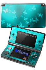 Bokeh Butterflies Neon Teal - Decal Style Skin fits Nintendo 3DS (3DS SOLD SEPARATELY)