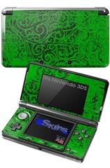 Folder Doodles Green - Decal Style Skin fits Nintendo 3DS (3DS SOLD SEPARATELY)