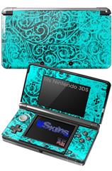 Folder Doodles Neon Teal - Decal Style Skin fits Nintendo 3DS (3DS SOLD SEPARATELY)