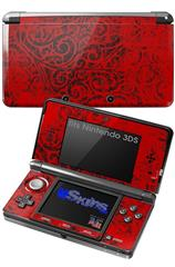Folder Doodles Red - Decal Style Skin fits Nintendo 3DS (3DS SOLD SEPARATELY)