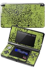 Folder Doodles Sage Green - Decal Style Skin fits Nintendo 3DS (3DS SOLD SEPARATELY)