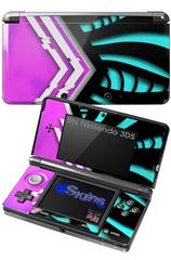 Black Waves Neon Teal Hot Pink - Decal Style Skin fits Nintendo 3DS (3DS SOLD SEPARATELY)