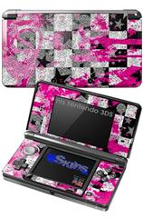 Checker Skull Splatter Pink - Decal Style Skin fits Nintendo 3DS (3DS SOLD SEPARATELY)