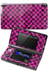 Pink Checkerboard Sketches - Decal Style Skin fits Nintendo 3DS (3DS SOLD SEPARATELY)