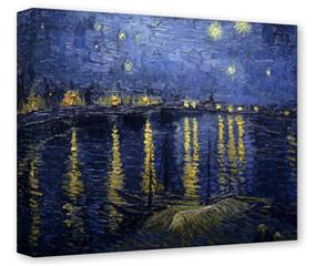 Gallery Wrapped 11x14x1.5 Canvas Art - Vincent Van Gogh Starry Night Over The Rhone