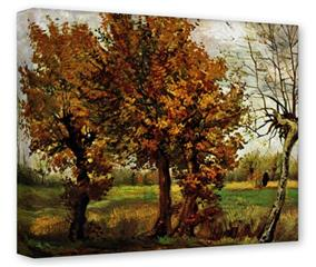 Gallery Wrapped 11x14x1.5 Canvas Art - Vincent Van Gogh Autumn Landscape With Four Trees