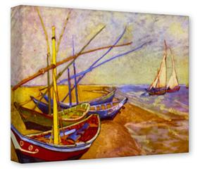 Gallery Wrapped 11x14x1.5  Canvas Art - Vincent Van Gogh Boats Of Saintes-Maries