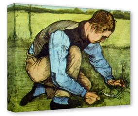 Gallery Wrapped 11x14x1.5  Canvas Art - Vincent Van Gogh Cutting Grass