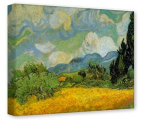 Gallery Wrapped 11x14x1.5  Canvas Art - Vincent Van Gogh Cypresses