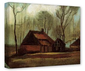 Gallery Wrapped 11x14x1.5  Canvas Art - Vincent Van Gogh Farmhouses Among Trees