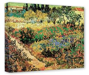 Gallery Wrapped 11x14x1.5  Canvas Art - Vincent Van Gogh Flowering Garden With Path