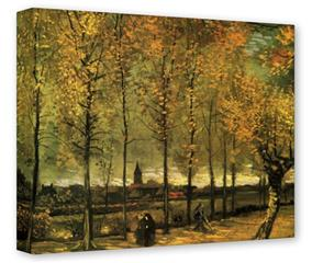 Gallery Wrapped 11x14x1.5  Canvas Art - Vincent Van Gogh Lane With Poplars