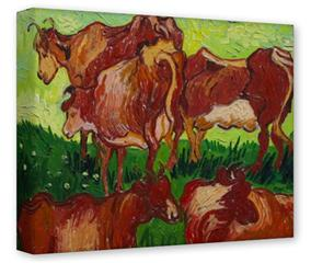 Gallery Wrapped 11x14x1.5  Canvas Art - Vincent Van Gogh Les Vaches By Van Gogh