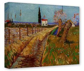 Gallery Wrapped 11x14x1.5  Canvas Art - Vincent Van Gogh Path Through A Field With Willows
