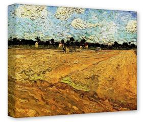 Gallery Wrapped 11x14x1.5  Canvas Art - Vincent Van Gogh Ploughed Field