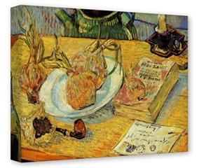 Gallery Wrapped 11x14x1.5  Canvas Art - Vincent Van Gogh Still Life Drawing Board Pipe Onions And Sealing-Wax