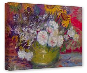 Gallery Wrapped 11x14x1.5  Canvas Art - Vincent Van Gogh Still-Life With Roses And Sunflowers