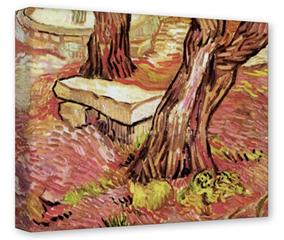 Gallery Wrapped 11x14x1.5  Canvas Art - Vincent Van Gogh The Stone Bench In The Garden Of Saint-Paul Hospital