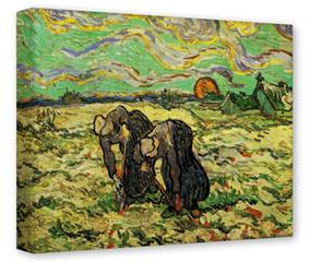 Gallery Wrapped 11x14x1.5  Canvas Art - Vincent Van Gogh Two Peasant Women Digging In Field With Snow