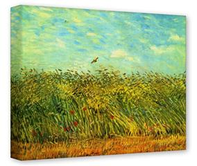 Gallery Wrapped 11x14x1.5  Canvas Art - Vincent Van Gogh Wheat Field With A Lark