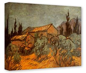 Gallery Wrapped 11x14x1.5  Canvas Art - Vincent Van Gogh Wooden Sheds