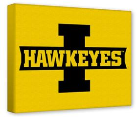 Gallery Wrapped 11x14x1.5  Canvas Art - Iowa Hawkeyes 02 Black on Gold